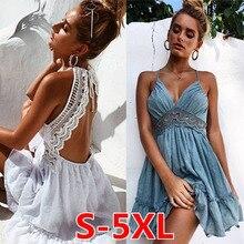 2019 summer New Sexy Print Lace Dress Strap Deep V-Neck High Waist Beach Dresses Women Slit Backless Sexy Party dress women недорого