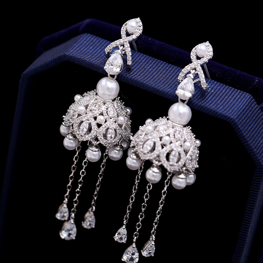 1pair Luxury Long Rhinestone Crystal Imitate Pearl Drop Dangle Earrings Chain For Bridal Wedding Prom Party Women Jewelry Gifts rhinestone ball hook long chain earrings
