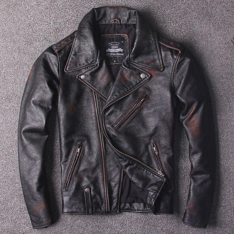 2018 Männer Der Amerian Stil Vintage Motorrad Leder Jacke Hand-machen Reiben Farbe Slim Fit Biker Jacke Männer Kuh Leder Mantel Mit Traditionellen Methoden