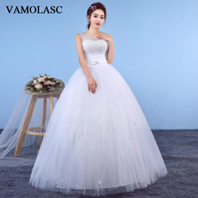 VAMOLASC Illusion O Neck Bow Sash Ball Gown Wedding Dresses Lace Flowers Appliques Tank Backless Bridal Gowns