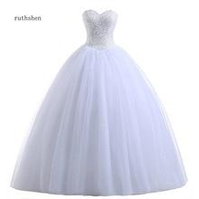 Реальное фото Дешевые бальное платье Свадебные платья корсет принцесса блестки бисером плиссированные тюль белого цвета слоновой кости размера плюс Vestido De Noiva