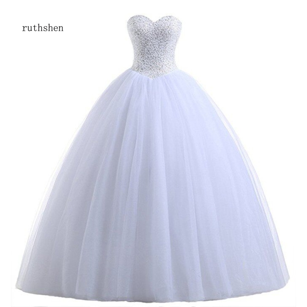 Real Photo Cheap Ball Gown Wedding Dresses Princess Corset Sequins Beaded Pleated Tulle White Ivory Plus Size Vestido De Noiva