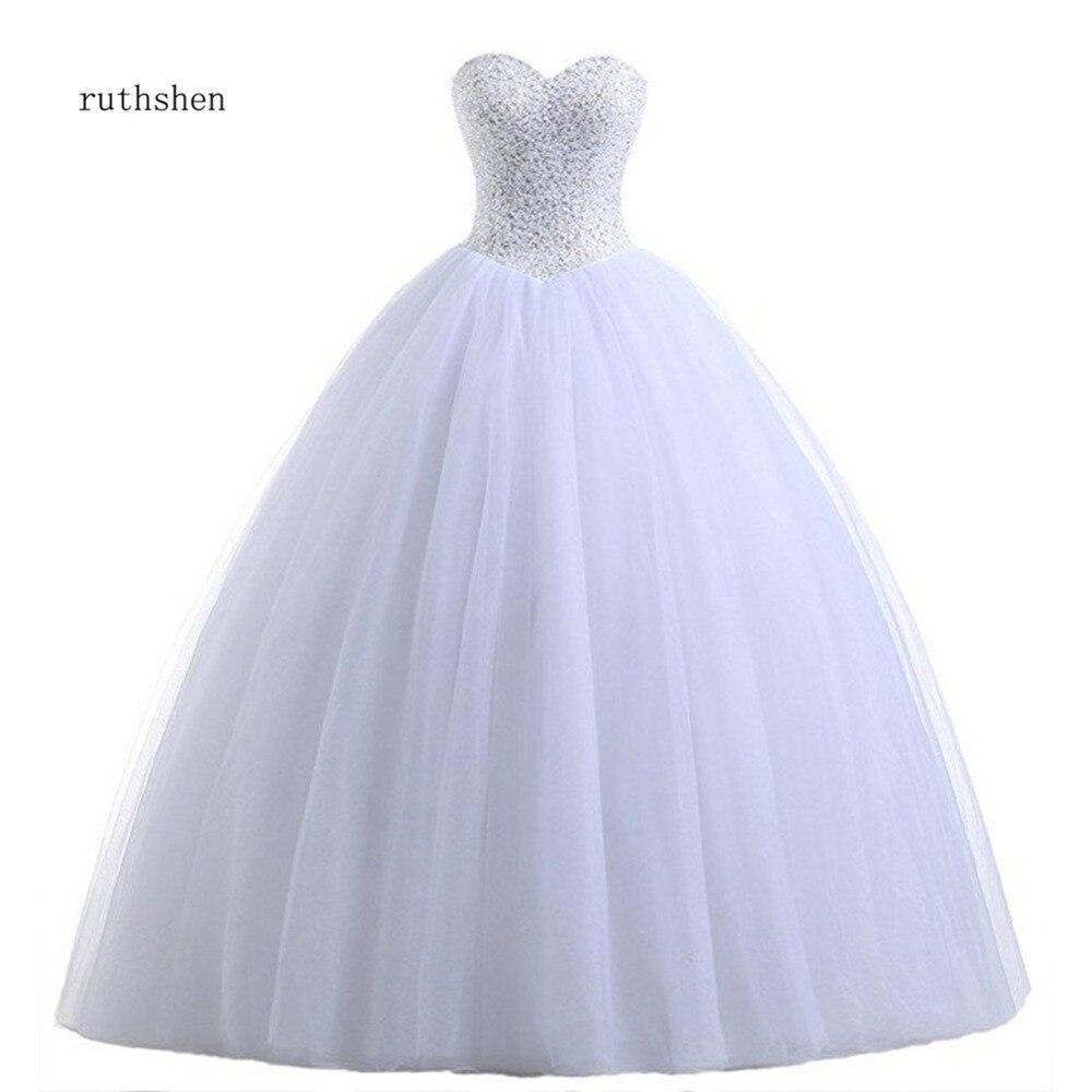 Vestido de Noiva de Princesa Vestidos de Casamento Foto Real Barato Princesa Espartilho Lantejoulas Plissado Tule Branco Marfim Tamanho Grande