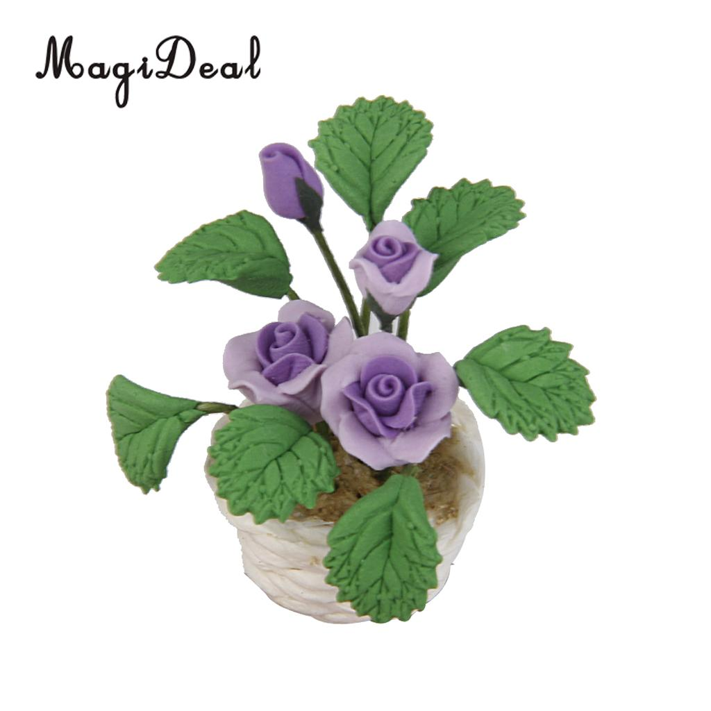 1//12 Dollhouse Miniature Clay Purple Rose Flower Bunch Red Fruit Life Scenes