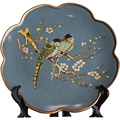 Декорационная тарелка из американской керамики с цветами и птицами в европейском стиле для гостиной  винный шкаф