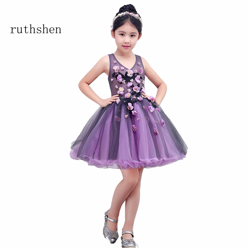ruthshen The Latest Princess   Flower     Girl     Dresses   Real Photo   Flower     Girl     Dresses   Floral Knee-Length Light Purple For 1-10   Girl