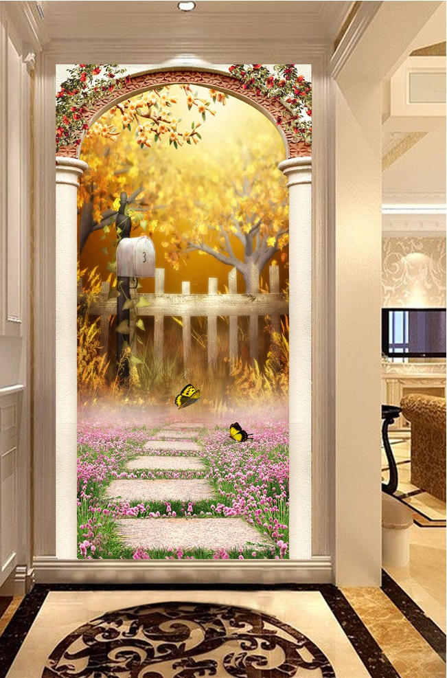 3d room wallpaper custom mural non-woven Wall sticker 3 d arch lavender butterfly porch painting photo wallpaper for walls 3d non woven bubble butterfly wallpaper design modern pastoral flock 3d circle wall paper for living room background walls 10m roll