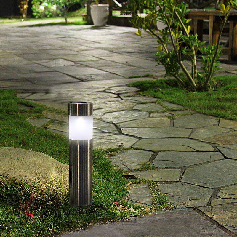 Outdoor Garden Light Path Lawn Led Ip55 Stainless Steel Solar Bollard Lights Waterproof Landscape Decoration Lamp White