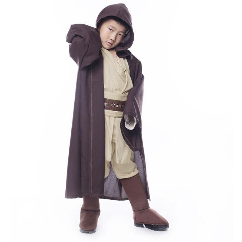 Star Wars Jedi Warrior Cosplay Costume Obi Wan Kenobi Costume Tunic For Children Kids Full Set Halloween Cranival Party
