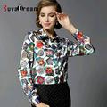Real SILK blouse Women Blouse long sleeve work Floral Print Satin Blusas femininas Office lady STRETCH Plus size 2016 NEW