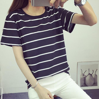 2016 Summer Fashion New Blusa Loose Short Sleeved Striped T Shirt Women Simple Casual Bottoming T