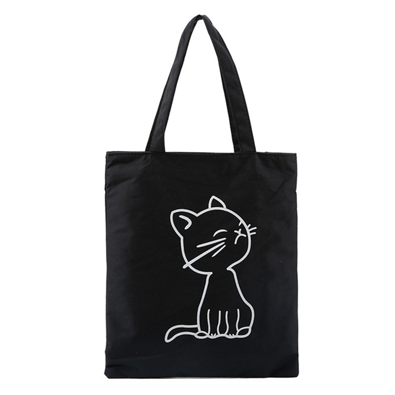 Cute Cat Cheap Women Shopping bag Female Canvas Single Shoulder Tote Beach Bags Ladies Large Capacity Handbags Eco Daily Package