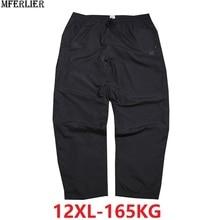 夏男性パンツ 8XL 9XL 10XL 12XL 黒プラスサイズビッグ 8XL 通気性緩い防水パンツストレートズボン 150 キロ 160 キロ