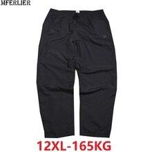 Летние мужские брюки 8XL 9XL 10XL 12XL черный цвет Большие размеры 8XL дышащие свободные водонепроницаемые брюки прямые брюки 150 кг 160 кг