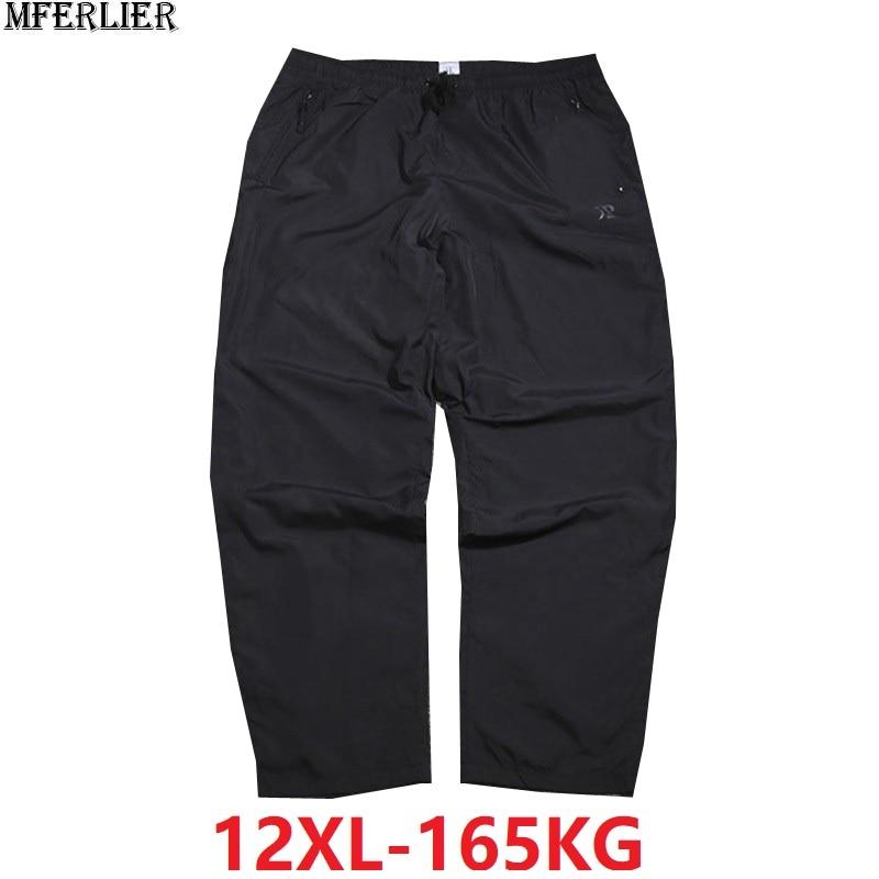 Summer Men Pants 8XL 9XL 10XL 12XL Black Color Plus Size Big 8XL Breathable Loose Waterproof Pants Straight Trousers 150KG 160KG