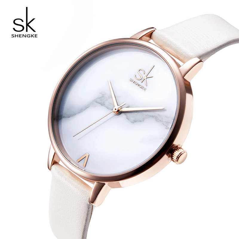Shengke Creative Marble Dial Women Watches Brand Luxury Quartz Watches Leather Ladies Wrist Watch Relojes Mujer 2018 SK #K0039 starry sky space watch little star silicone watches kids sport quartz watch luxury brand hot boys girls watches relojes mujer