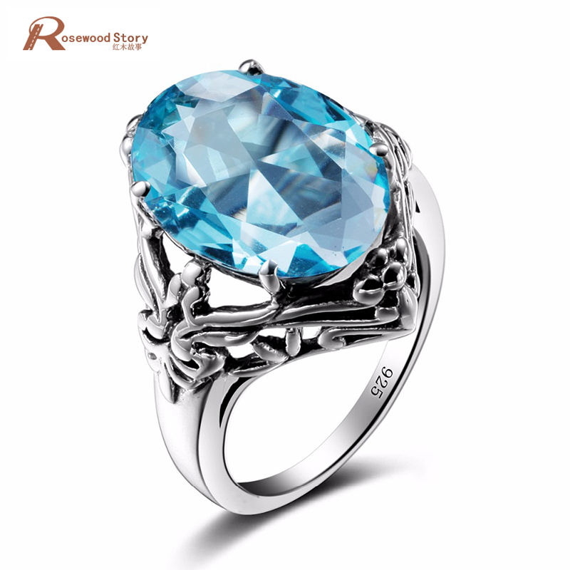 New Elegant Handmade Real London Blue Stone Crystal Ring Women 925 Sterling Silver Ring Butterfly Body Jewelry Vintage Style