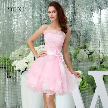 Sexy Strapless Pink Short Prom Dresses 2019 New A-Line Formal Party Gowns PD49