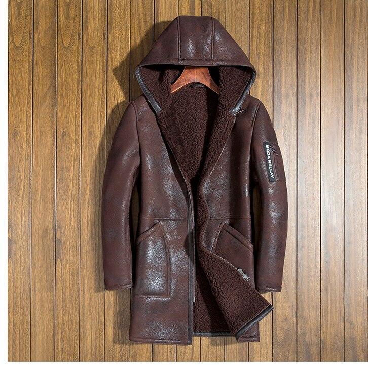 Italia uomo inverno tosatura cuoio genuino soprabito di pelle di pecora naturale fodera di lana con cappuccio cappello maschile giacca lunga marrone nero 4xl
