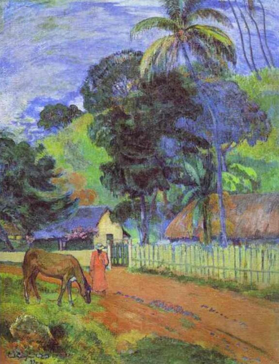 High quality Oil painting Canvas Reproductions Landscape (1899) by Paul Gauguin hand paintedHigh quality Oil painting Canvas Reproductions Landscape (1899) by Paul Gauguin hand painted