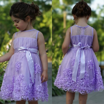Purple Tulle Flower Girl Dress with Appliques Jewel Neck Sleeveless Short Girls Pageant Gowns Kids Formal Wears in Summer