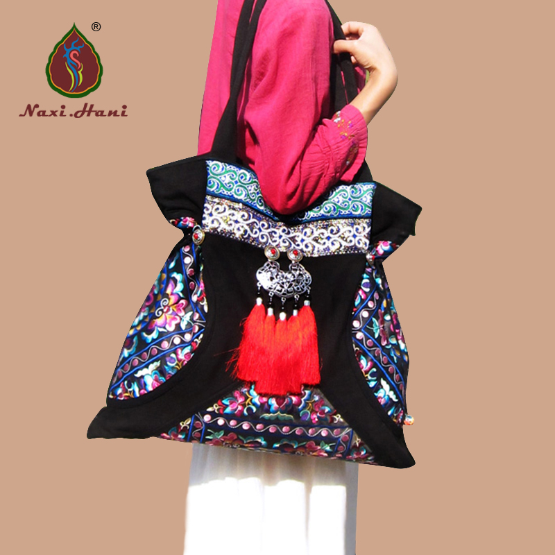 NEWEST BOHO embroidery Pattern bags Ethnic canvas Large size shoulder bags Tassel bag free shipping vintage hmong tribal ethnic thai indian boho shoulder bag message bag pu leather handmade embroidery tapestry 1018