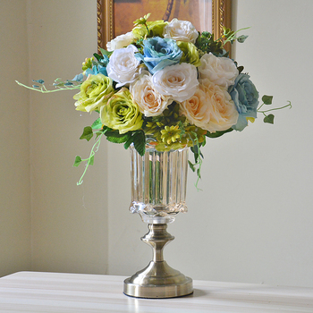 Europe High-grade Bronze crystal glass vase Handmade big vases Flower Pot desktop Furnishing Crafts home wedding Decoration