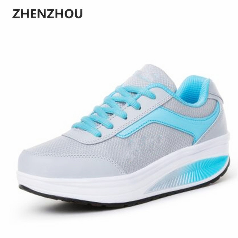 Free shipping 2017 Summer styles mesh shoes womens swing shoes breathable gauze platform shoes single elevator shoes
