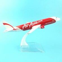 送料無料 16 センチメートル A320 エアアジア金属合金モデル飛行機航空機模型玩具飛行機誕生日ギフト