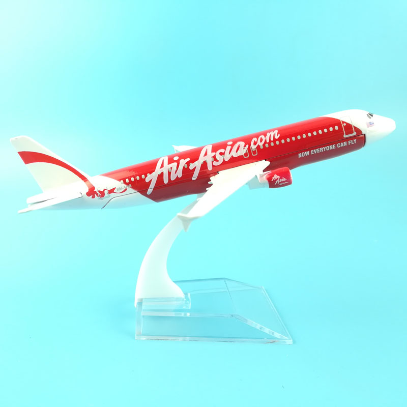 FREE SHIPPING 16CM A320 AIR ASIA  METAL ALLOY MODEL PLANE AIRCRAFT MODEL TOY AIRPLANE BIRTHDAY GIFT