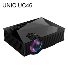 2016 unic uc46 lcd mini pico proyector lleno del hd 1080 p hogar teatro 1200 Lúmenes 2.4G WIFI HDMI AV USB SD IR Portátil Projetor