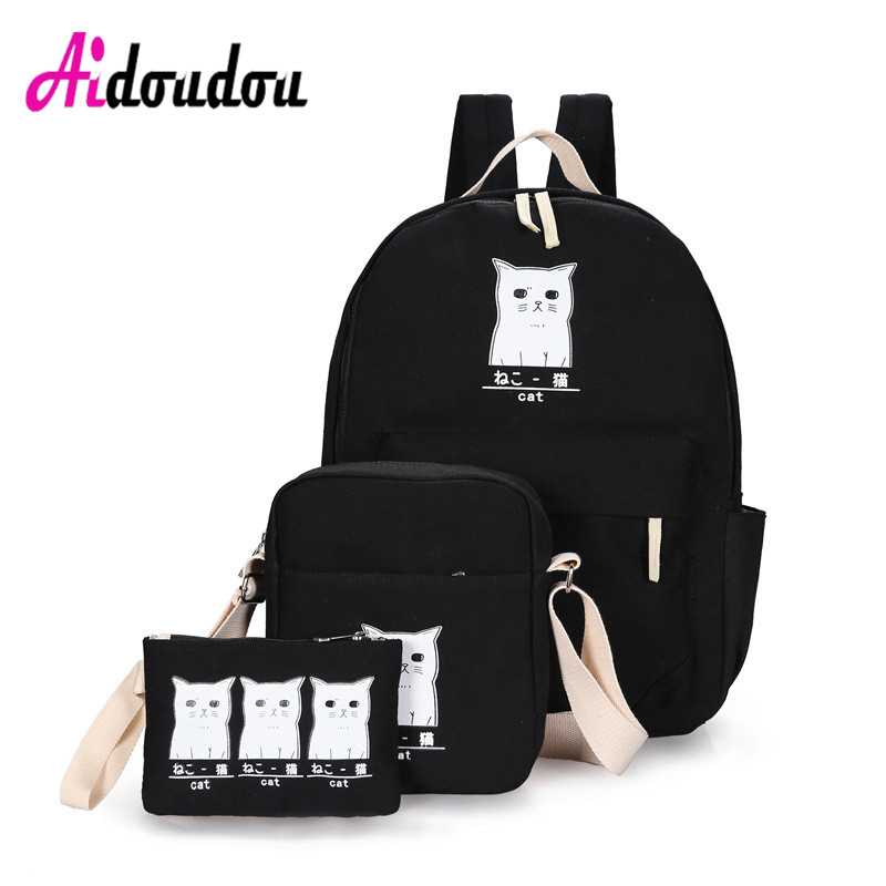 New Preppy Style Women Cat Printing Backpack Canvas School Bags For Teenager Girls 3 Set Rucksack Cute Book Bag Mochila J0601WM vintage casual small women printing backpack ladies casual preppy style school bag teenager girls female travel rucksack mochila