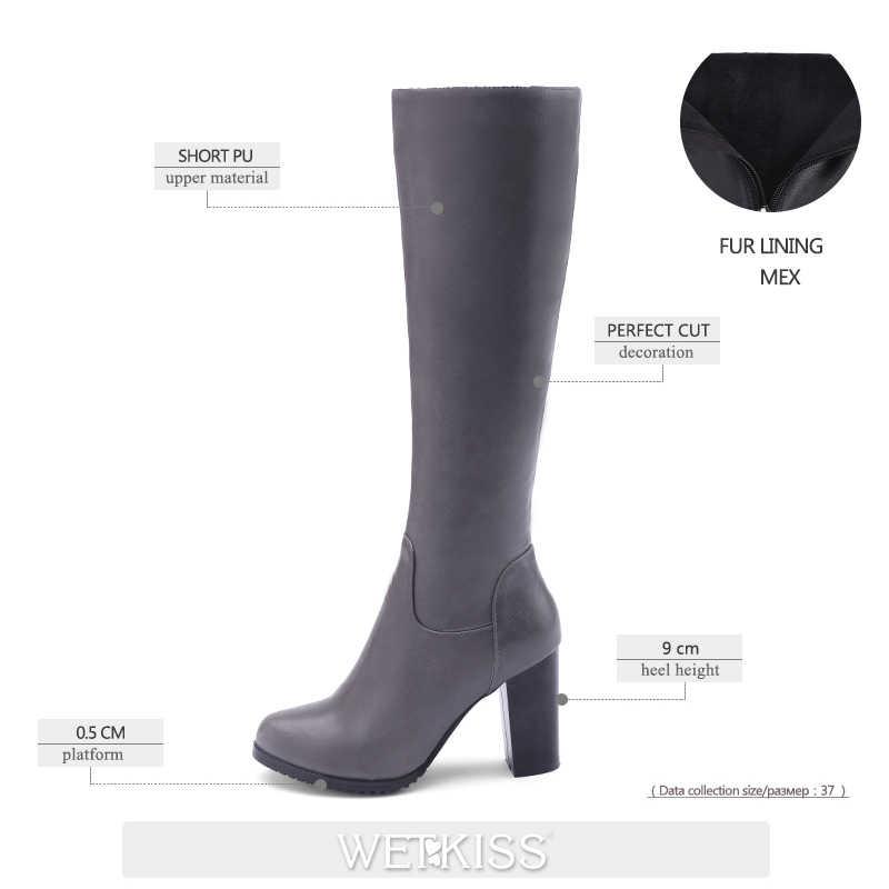WETKISS binici çizmeleri kadın diz yüksek çizmeler yuvarlak ayak yüksek topuklu kadın ayakkabısı Zip kadınlar sonbahar kış çizmeler artı boyutu 2020