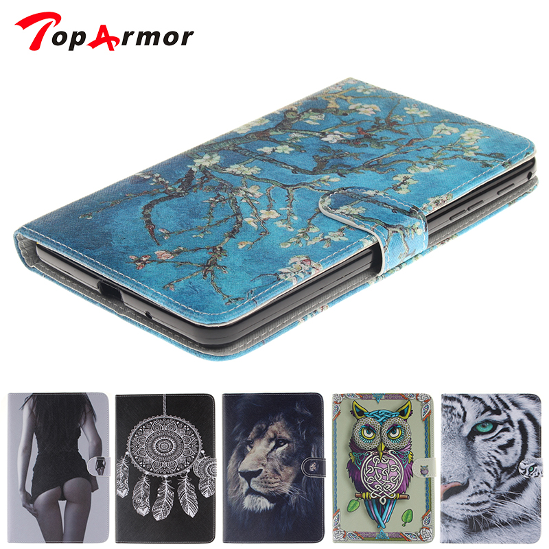 TopArmor Tiger Owl Girls Pattern Painted PU Leather For Samsung Galaxy Tab 4 7.0 Case For SM Tab 4 T230 T235 Smart Case Cover