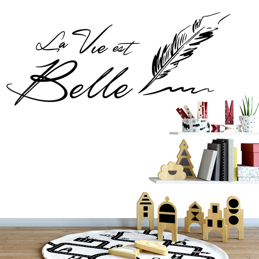 Beauty French wallstickers la vie Belle Decal Removable Vinyl Mural Poster For Baby's Rooms Decoration Wall Stickers
