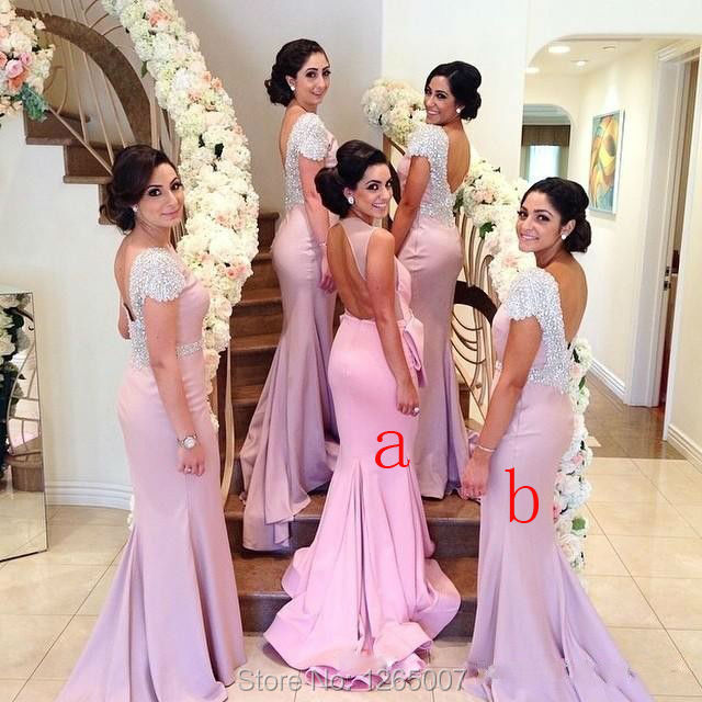 New Arrival Sparkly Silver Beaded Sequins Open Back Mermaid Long Bridesmaid Dresses 2017 Special Occasion Formal Maxi Dress In From