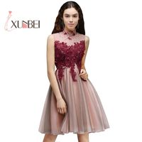 New Arrival Vestido 15 Ano Curto Burgundy Bead Tulle Homecoming Dresses 2017 Cheap 8th Grade Graduation