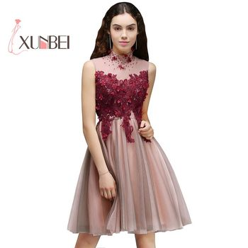 New Arrival Vestido 15 Ano Curto Burgundy Bead Tulle Homecoming