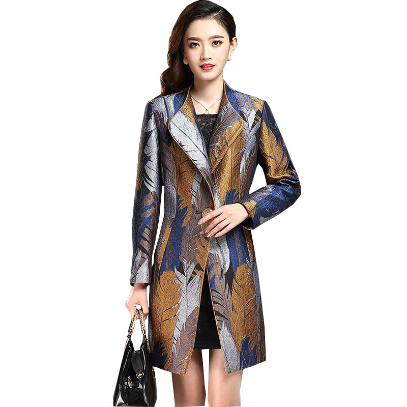 Jacquard Plus size Trench Coat Women 2018 New Spring Winter Long Femme Purple Coats Top quality Windbreaker casaco feminino Z553