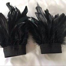 Ручная работа, одна пара черных перчаток с перьями, фестиваль, Хэллоуин, Декор