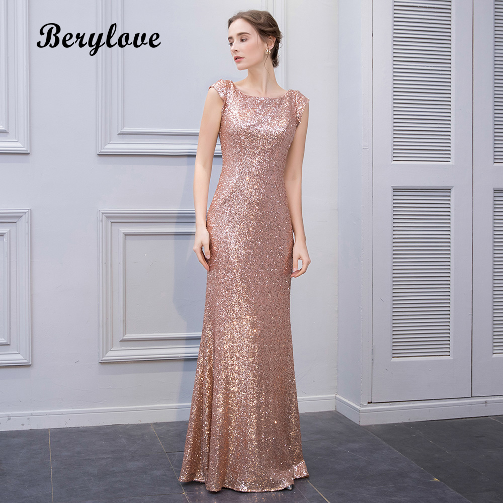 BeryLove Mermaid Champagne Sequin Evening Dresses 2018 Long Cap ...