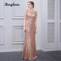 BeryLove Mermaid Champagne Sequin Evening Dresses 2018 Long Cap Sleeves Backless Evening Dress Women Formal Evening Gowns