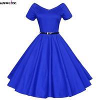 Plus Size S XL Women Retro Dress With Sashes 50s 60s Vintage Rockabilly Swing Feminino Vestidos