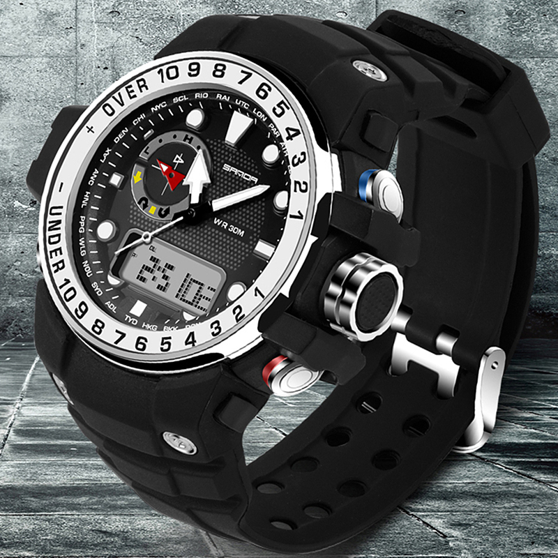 SANDA Brand Men Sports Watches Waterproof Shock G Style Military Digital Watch Electronic Quartz Watches Mens