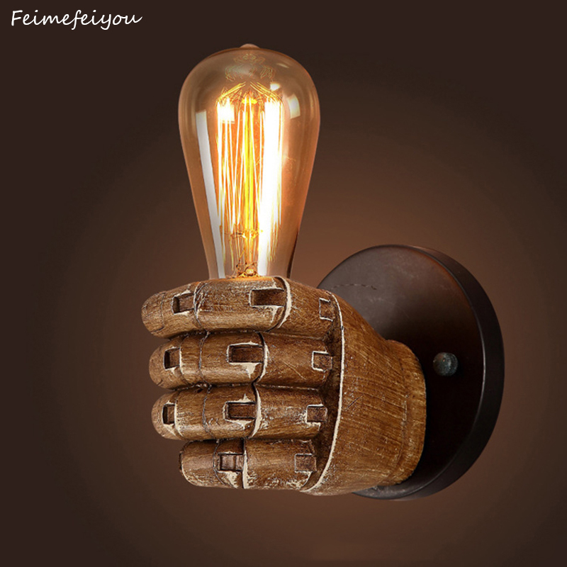 Feimefeiyou 7.5X11cm Creative Fist Resin Wall Lamps Decoration Cafe Restaurant Bar Bedroom Wall Lamp E27 90V 260V