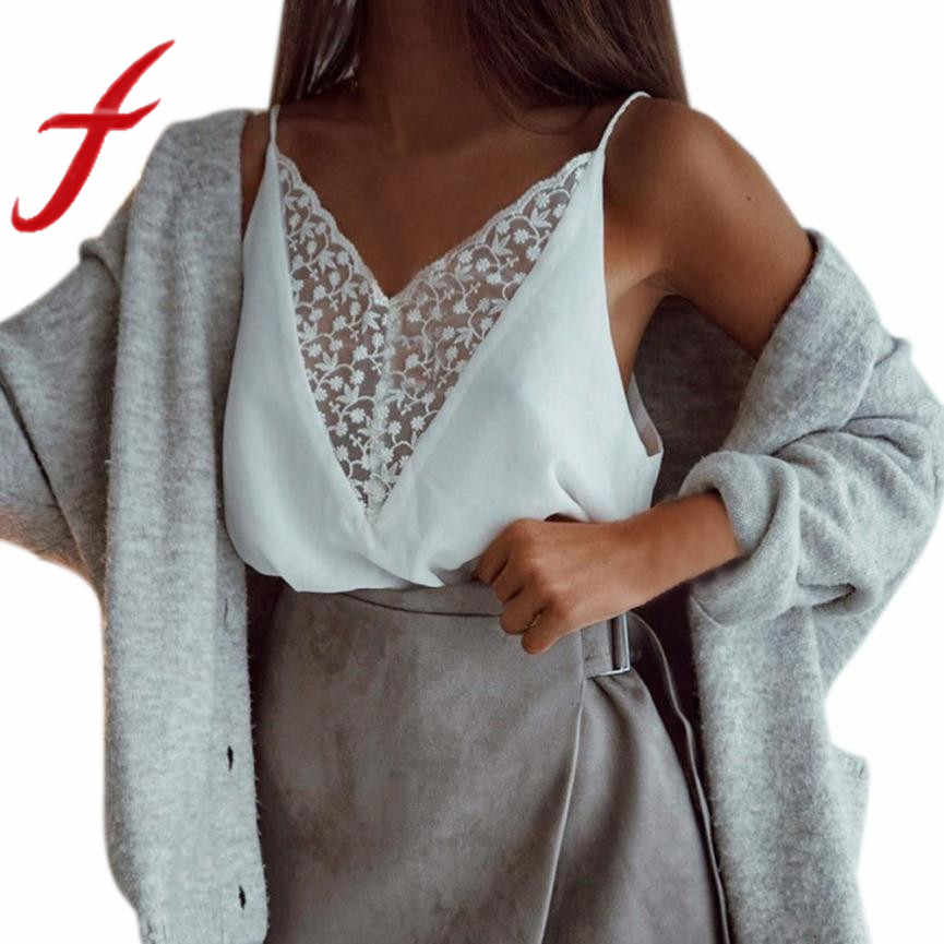 9f488c0935278c Feitong Summer Women Tank Top 2019 Casual V-Neck White Tops Women Sexy Lace  Patchwork