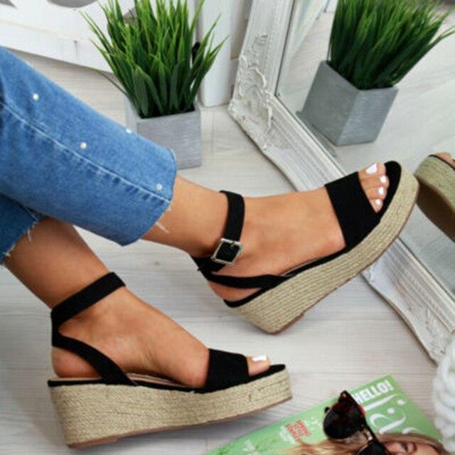 Puimentiua Verão Cunhas Sapatos de Plataforma Sandálias 2019 Das Mulheres Da Forma Sandália Flat Mulher Peep Toe Plataforma Preto Sandálias sandalias