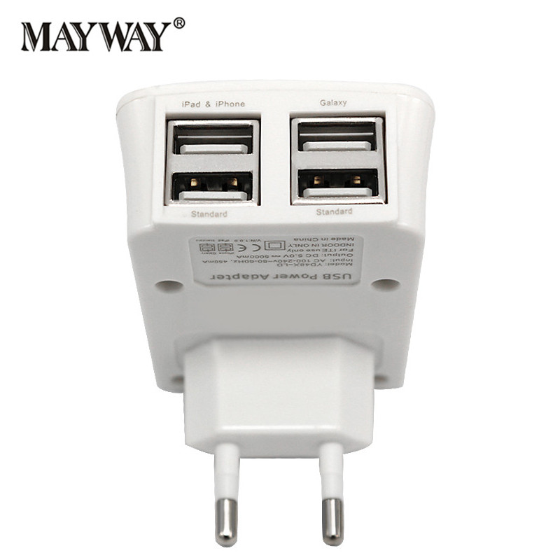 New 4 USB Charger Ports Power Plug EU Adapter Socket Fast Charging Charge For iPhone iPad Pro Sumsung Xiaomi <font><b>Phones</b></font>