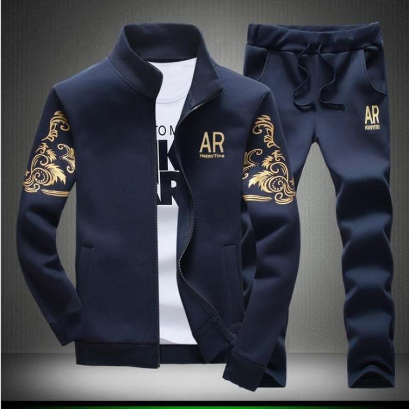 Men Clothing Sets Autumn Spring Male Standing Collar Long Sleeve Zipper Jacket+pant 2pcs Suits Letter Print Man Clothes Y42