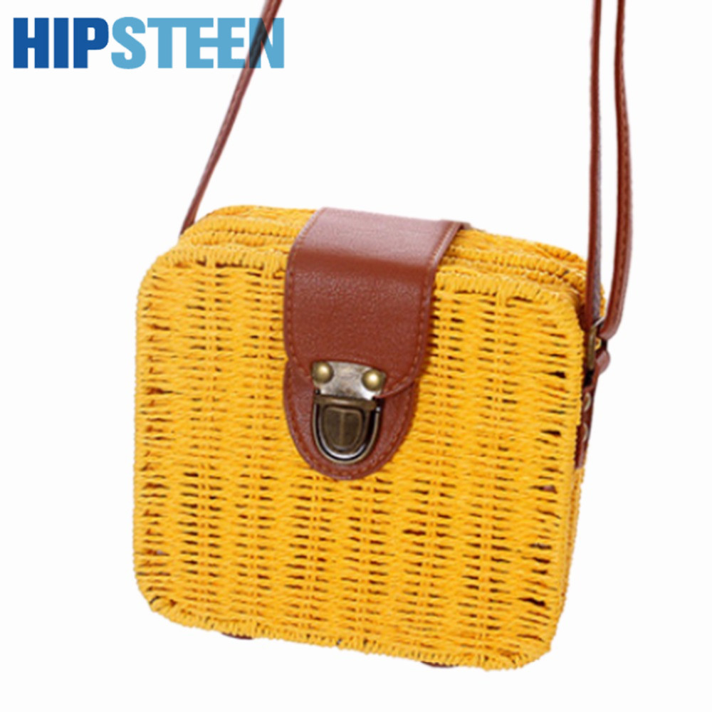 HIPSTEEN  Women Travel Bags With Candy Color Square Straw Bag Small Female Travel Single-Shoulder Bags Cross-body Bag Hot Sale